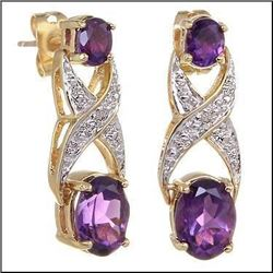 Plated 18KT Yellow Gold 3.18ctw Amethyst and Diamond Earrings