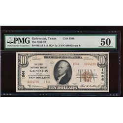 1929 $10 Galveston National Bank Note PMG 50