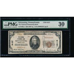1929 $20 Kittanning National Note PMG 30