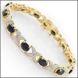 Plated 18KT Yellow Gold 12.45ctw Black Sapphire and Diamond Bracelet