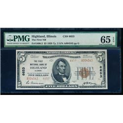 1929 $5 Highland National Bank Note PMG 65EPQ