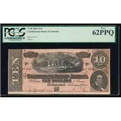 1864 $10 Confederate States of America Note PCGS 62PPQ