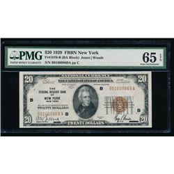 1929 $20 New York National Bank Note PMG 65EPQ