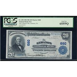 1902 $20 Lebanon National Bank Note PCGS 65PPQ