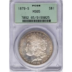 1879-S $1 Morgan Silver Dollar Coin PCGS MS65 Old Rattler Holder