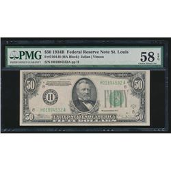 1934B $50 St Louis Federal Reserve Note PMG 58EPQ