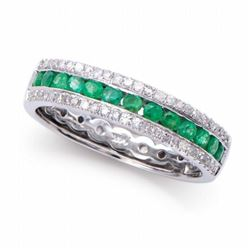 14KT White Gold 0.45ctw Emerald and Diamond Ring