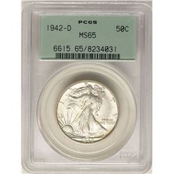 1942-D Walking Liberty Half Dollar Coin PCGS MS65 Old Green Holder