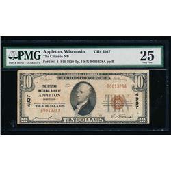 1929 $10 Appleton National Bank Note PMG 25