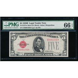 1928B $5 Legal Tender Mule Note PMG 66EPQ