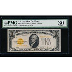 1928 $10 Gold Certificate PMG 30