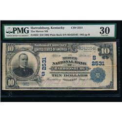 1902 $10 Harrodsburg National Bank Note PMG 30