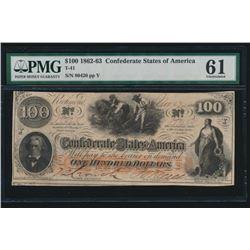 1862-63 $100 Confederate States of America Note PMG 61