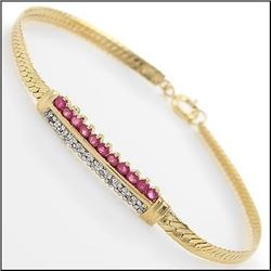 Plated 18KT Yellow Gold 4.79ctw Ruby and Diamond Bracelet
