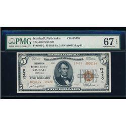 1929 $5 Kimball National Bank Note PMG 67EPQ