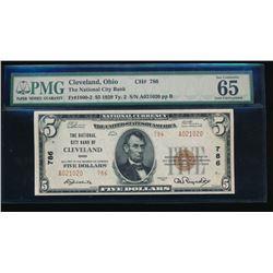1929 $5 Cleveland National Bank Note PMG 65EPQ
