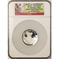 2015P Australia $8 Proof Koala High Relief 5 oz. Silver Coin NGC PF70 Ultra Cameo