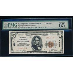 1929 $5 Springfield National Bank Note PMG 65EPQ