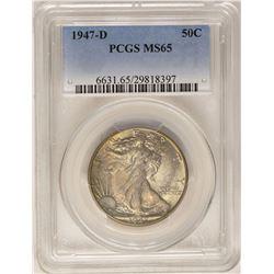 1947-D Walking Liberty Half Dollar Coin PCGS MS65 Nice Toning