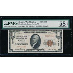 1929 $10 Seattle National Bank Note PMG 58EPQ