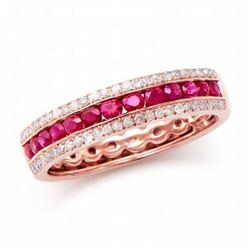 14KT Rose Gold 0.50ctw Ruby and Diamond Ring