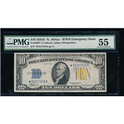 1934A $10 North Africa Silver Certificate Star Note PMG 55