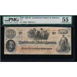 1862-63 $100 Confederate States of America Note PMG 55