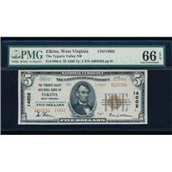 1929 $5 Elkins National Bank Note PMG 66EPQ