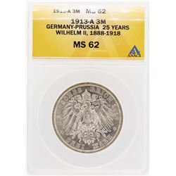 1913-A Germany-Prussia 25 Years William II 3 Mark Coin ANACS MS62