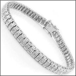 Plated Rhodium 0.43ctw Diamond Bracelet