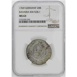 1769 Germany Bavaria 20 Kreuzer Coin NGC MS63