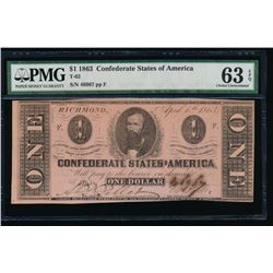 1863 $1 Confederate States of America Note PMG 63EPQ