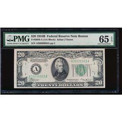 1934B $20 Boston Federal Reserve Note PMG 65EPQ