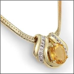 Plated 18KT Yellow Gold 7.49ct Citrine and Diamond Pendant with Chain
