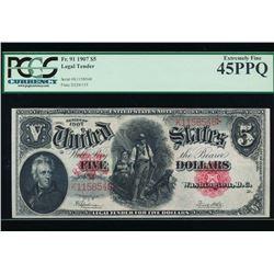 1907 $5 Legal Tender Note PCGS 45PPQ