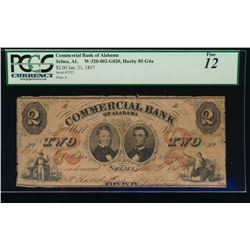 1857 $2 Commercial Bank of Alabama Obsolete Note PCGS 12