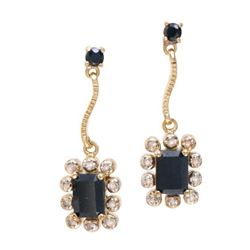 Plated 18KT Yellow Gold 3.94ctw Black Sapphire and Diamond Earrings