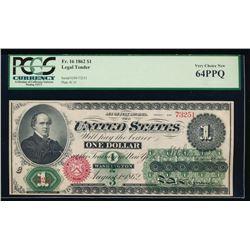 1862 $1 Legal Tender Note PCGS 64PPQ