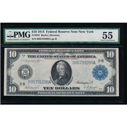 1914 $10 New York Federal Reserve Note PMG 55