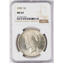 1935 $1 Peace Silver Dollar Coin NGC MS62