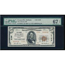 1929 $5 Evansville National Bank Note PMG 67EPQ