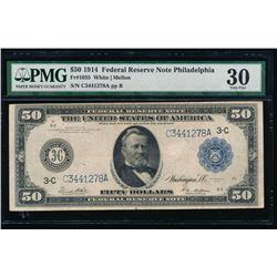 1914 $50 Philadelphia Federal Reserve Note PMG 30