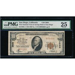 1929 $10 San Diego National Bank Note PMG 25