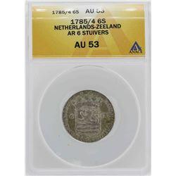 1785 Netherlands-Zeeland 6 Stuivers Coin ANACS AU53