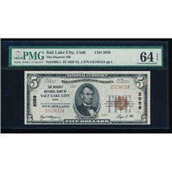 1929 $5 Salt Lake City National Bank Note PMG 64EPQ