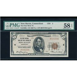 1929 $5 New Haven National Bank Note PMG 58EPQ