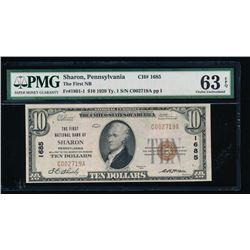 1929 $10 Sharon National Bank Note PMG 63EPQ
