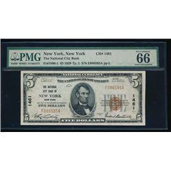 1929 $5 New York National Bank Note PMG 66EPQ