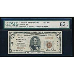 1929 $5 Pennsylvania National Bank Note PMG 65EPQ