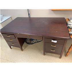 Cherry Wood Double Pedestal Desk